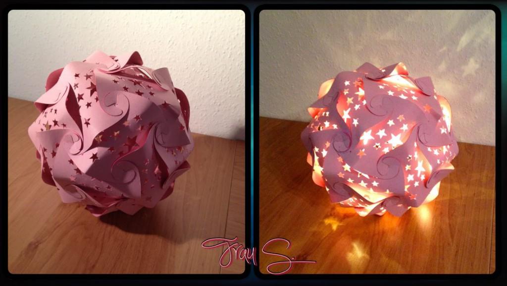 Puzzlelampe Rosa basteln Lichterkette