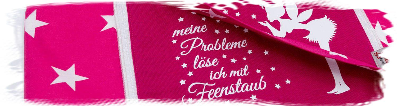 """faltbare Einkaufstasche in pink mit Motiv """"Meine Probleme löse ich mit Feenstaub"""""""